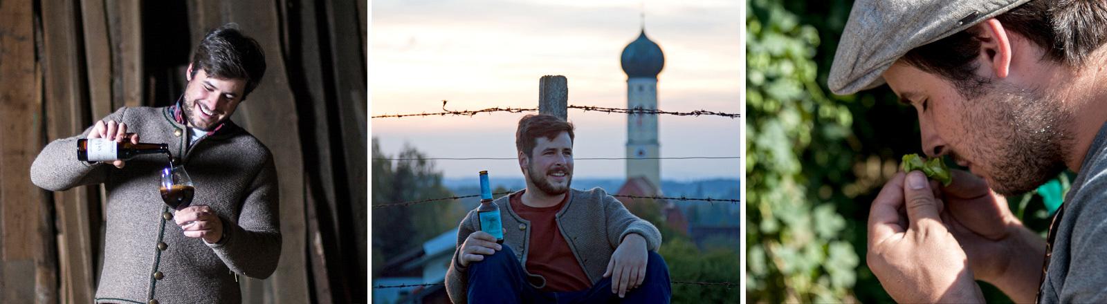 Collage: Markus Hoppe von Hoppebräu mit Bierflaschae, vor bayrischer Sonnenuntergangskulisse und beim Hopfen schnuppern