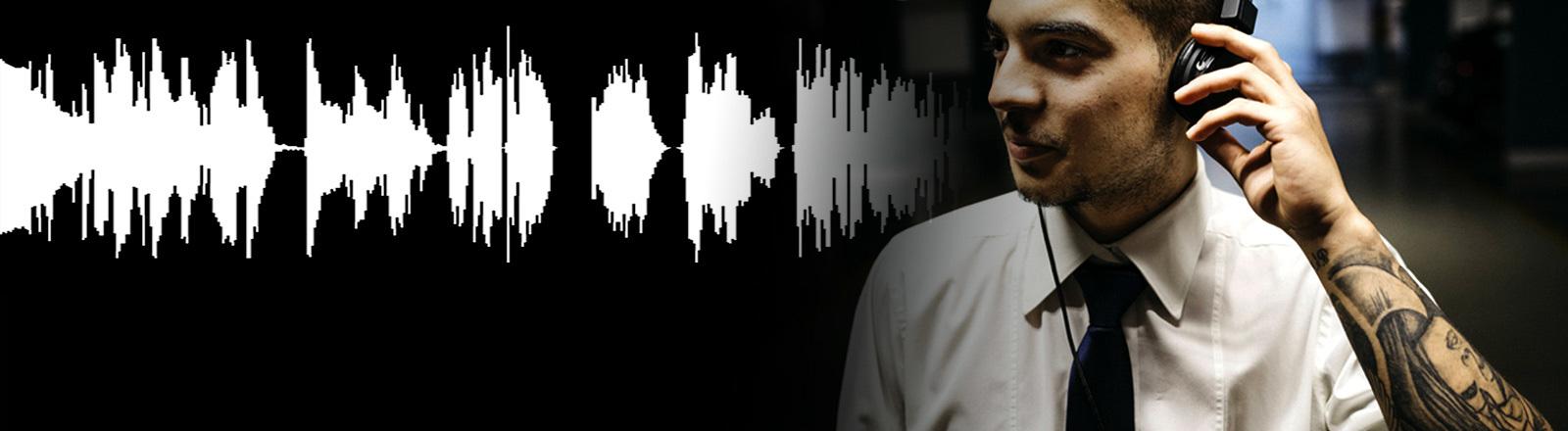 Collage: Mann mit Kopfhörer und Tätowierung, Schallwelle