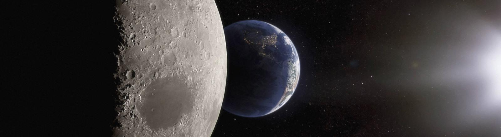 Die  Erde aus dem Weltall fotografiert.