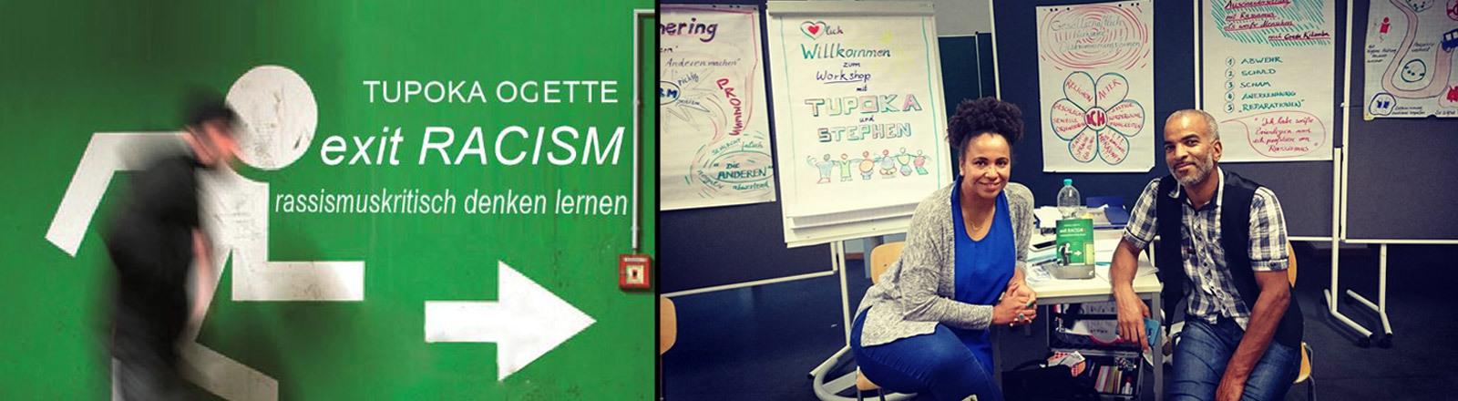 """Cover des Buches """"Exit Racism"""" (links). Und: Tupoka Ogette mit ihrem Ehemann und Co-Trainer Stephen Lawson"""