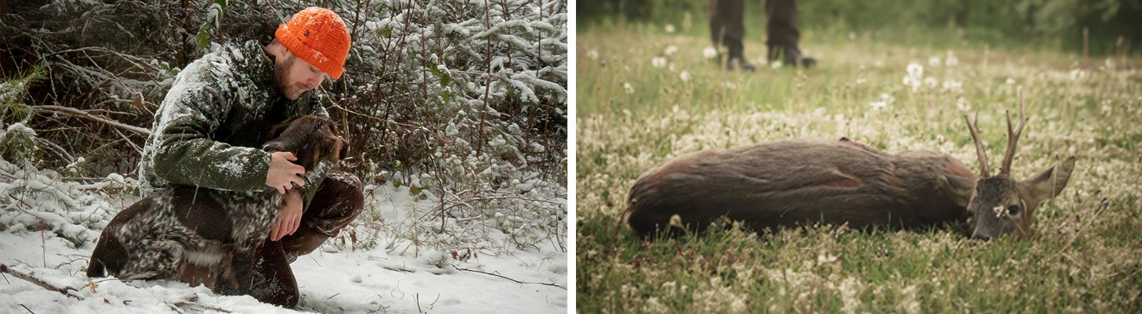 Collage: der Jäger Fabian Grimm kniet neben einem Jagdhund auf schneebedecktem Waldboden, und ein frisch erlegtes Reh liegt mit offenen Augen auf einer Wiese.