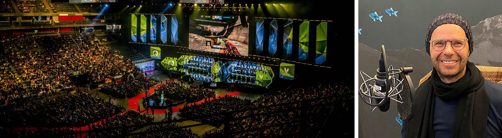 Links: Blick in die Lanxess Arena Köln währens eines Counter-Strike-Wettkamps 2019, rechts: Jörg Adami im Deutschlandfunk-Nova-Studio