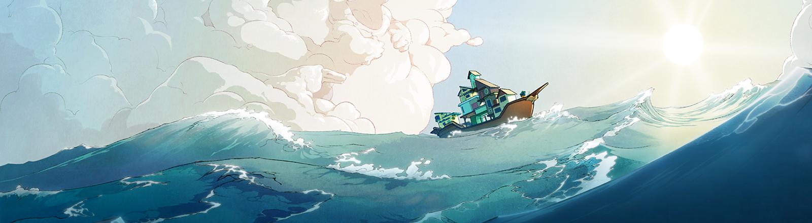 """Zeichnung eines Hausbootes auf dem Meer - Key Art des Games """"Spiritfarer"""" von Thunder Lotus Games"""