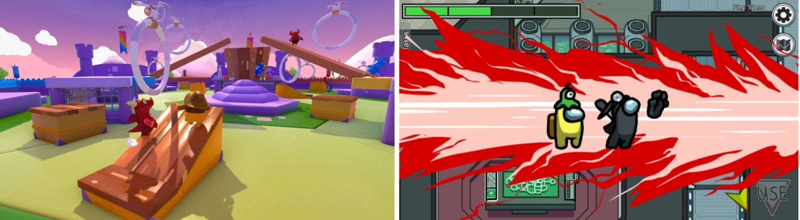 """Screenshots aus """"Fall Guys"""" (links) und """"Among Us"""" (rechts)"""