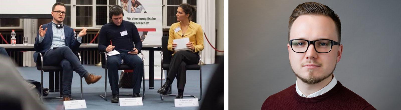 Extremismusforscher Jakob Guhl bei einer Diskussion und ein Porträt von Jakob Guhl