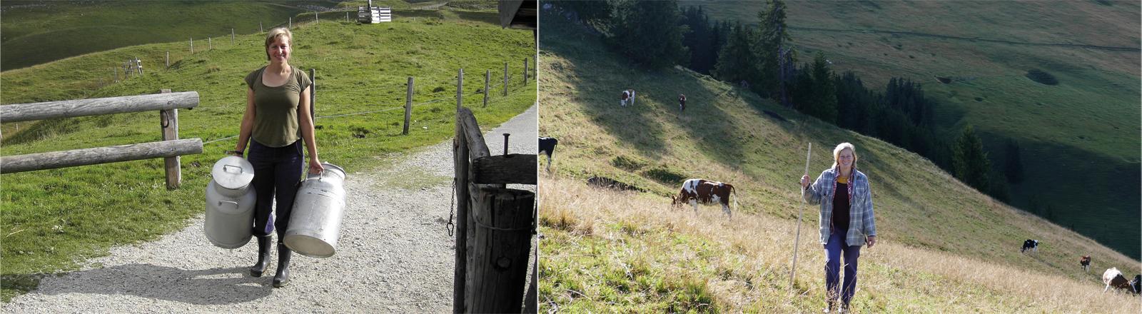 Mit Milchkannen und bei der Hütearbeit: die Autorin Katharina Afflerbach auf der Alp