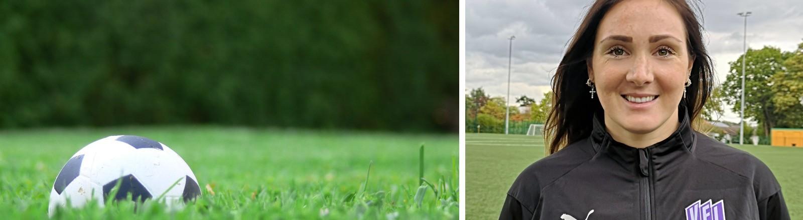 Ein Fußball liegt im Gras, Kathrin Seufert auf dem Fußballplatz