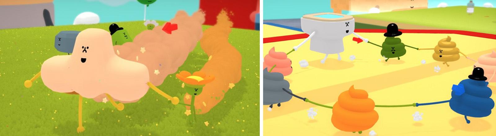 """Zwei Screenshots des Spiels """"Wattam"""" von Funomena"""