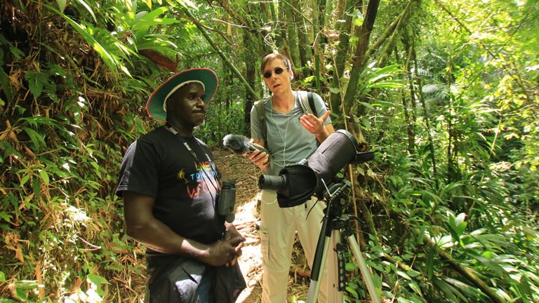 Peter Cox und Sven Preger im Dschungel auf der Suche nach Kolibris.