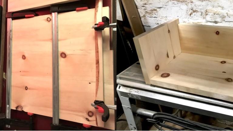 Zirbenholz wird geklebt