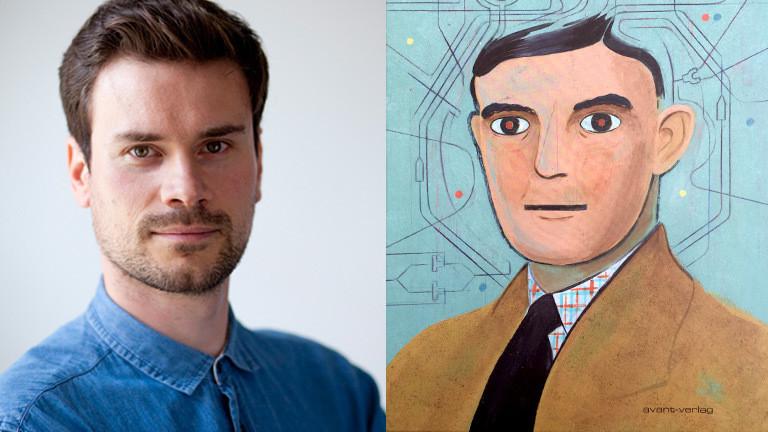 """Robert Deutsch, Comiczeichner und das Cover seiner Graphic Novel """"Turing""""."""
