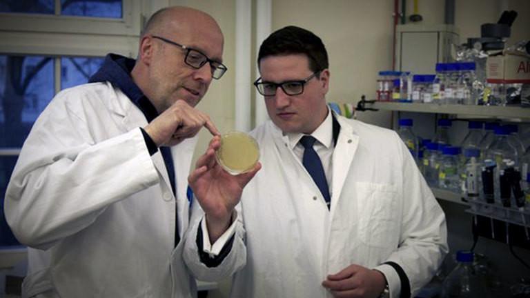 Patrick Schmitt (rechts) im Labor