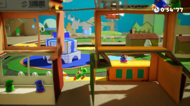 """Eine Szene aus dem Spiel """"Yoshi's Crafted World""""."""