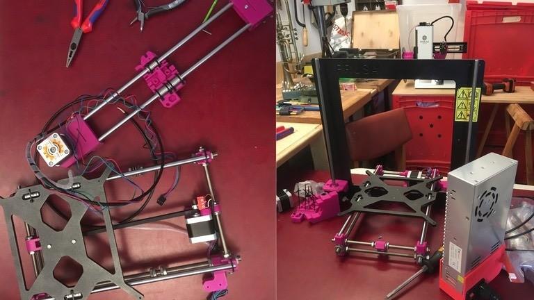 Einzelteile zum Bau eines 3D-Druckers