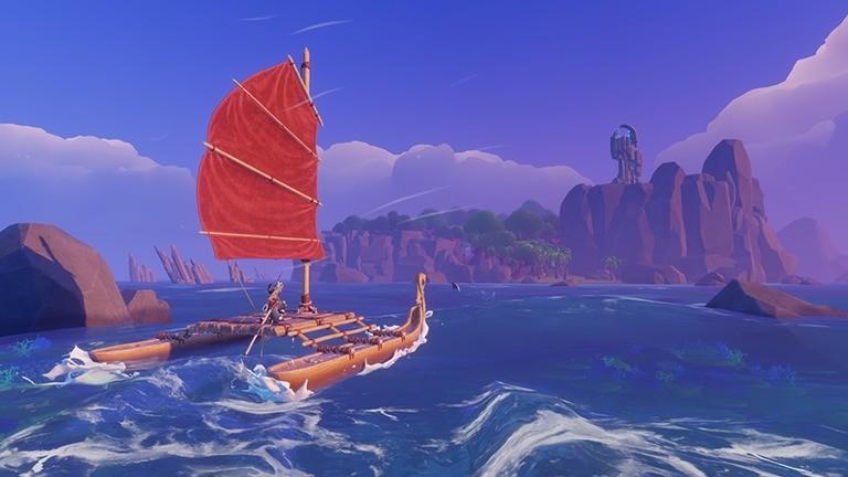 Screenshot aus dem Game Windbound: Kriegerin Kara segelt auf ihrem Schilfboot von Insel zu Insel.