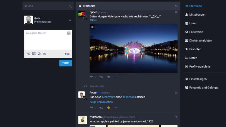 """Eine dezentrale Twitter-Alternative im """"Fediverse"""" ist Mastodon - hier Moritz neuer Privataccount auf der Instanz chaos.social"""