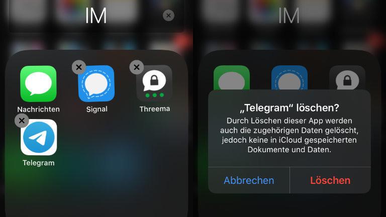 Bei Whatsapp war Moritz ohnehin nie, aber wird jetzt auch Telegram von seinem Handy entfernen
