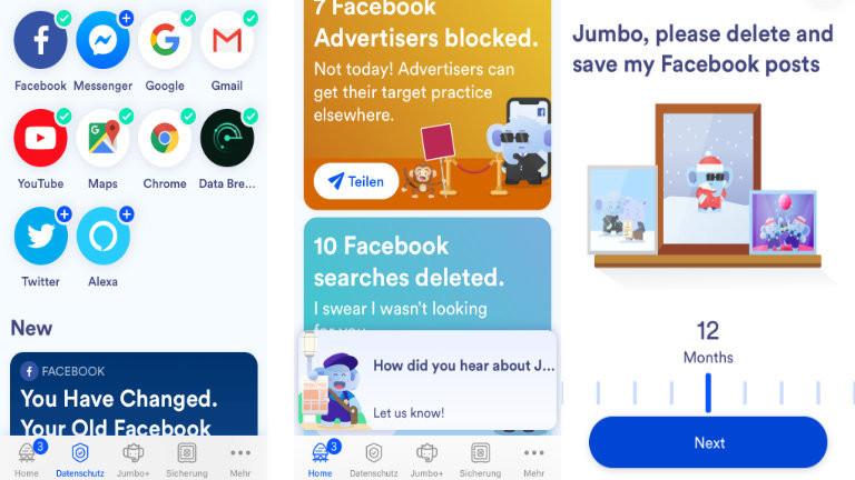 """Die App """"Jumbo"""" hilft mit den richtigen Sicherheits- und Privatsphäre-Einstellungen für diversen Internet-Großkonzernen - und ist auch beim Löschen alter, peinlicher Posts behilflich."""