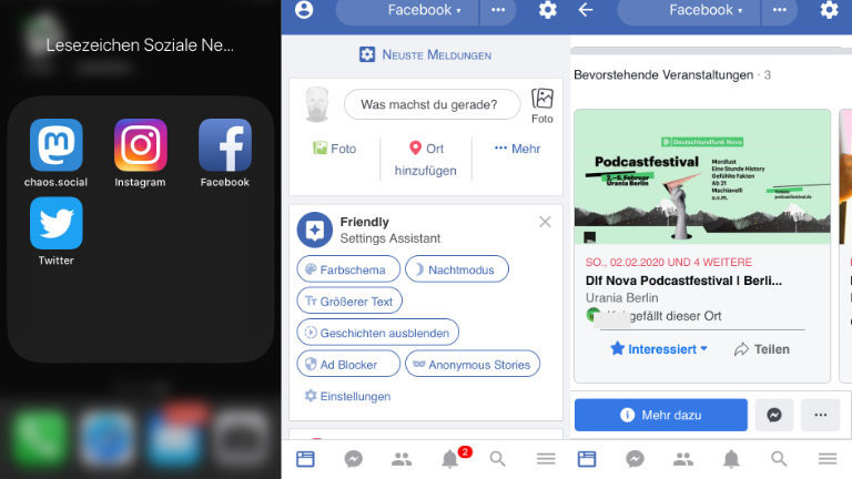 """Weg mit dem App-Ballast! Wer auf die von Facebook noch nicht ganz verzichten will, kann es auch mit dem Smartphone-Browser bedienen - bei allen sozialen Netzwerken lassen sich auch App-ähnliche Lesezeichen auf dem Handy-Desktop erstellen. """"Wrapper""""-Apps wie Friend.ly schaffen es auch, die im Mobilbrowser ausgeblendeten Facebook-Nachrichten anzuzeigen"""