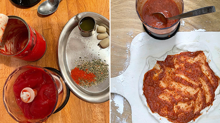 Tomatenbelag für eine selbstgemachte Tiefkühlpizza