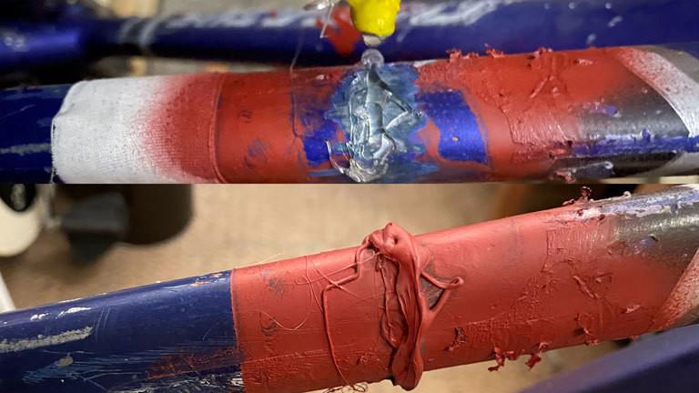 Der scheinbar gebrochene Fahrradrahmen lässt das Rad wertlos erscheinen.