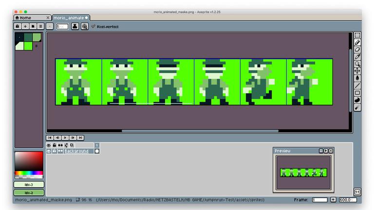 Screenshot selbstgebasteltes Game