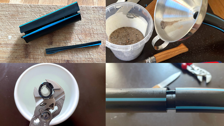 Ein ein zirka 7cm langes Rohr-Reststück schneidet Moritz eine Kerbe, füllt ein knappes halbes Kilo Spielplatzsand in den Reifen und nutzt dann eine Zange, um das angeschnitzte (und evtl in heißem Wasser weich gemachte) Verbindungsstück in die beiden Rohrenden zu schieben.