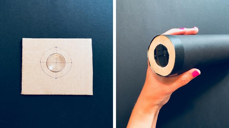 Für die zweite Linse, das Okular, müsst ihr einen kleinen Papp-Adapter basteln, damit er in die Röhre passt, die ähnlich groß sein muss, wie die es Objektivs.
