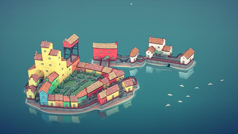 Screenshot aus dem Game Townscaper von  Oskar Stålberg: ein Städtchen mitten im Meer.