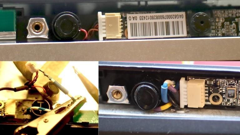Die Massekabel von Mikro und Cam des Netbooks werden durchtrennt und durch ein Loch nach außen verlängert.