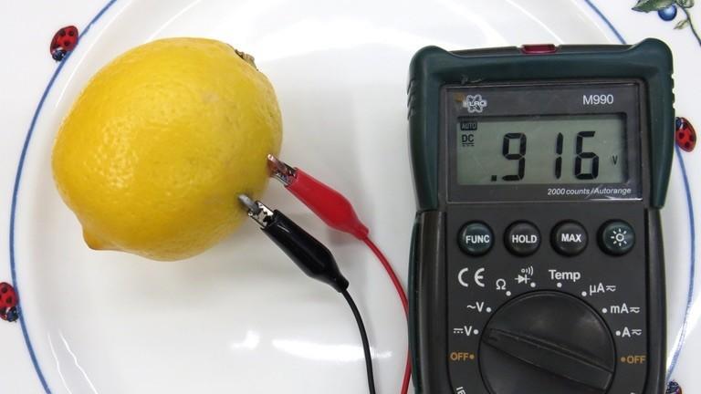 Zitronenbatterie mit Spannungsmessgerät