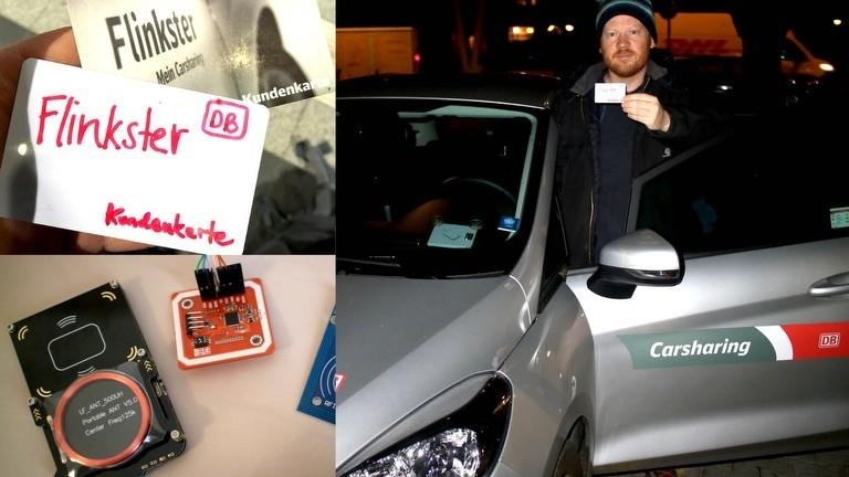 Carsharing-Auto mithilfe von RFID-Hack öffnen.