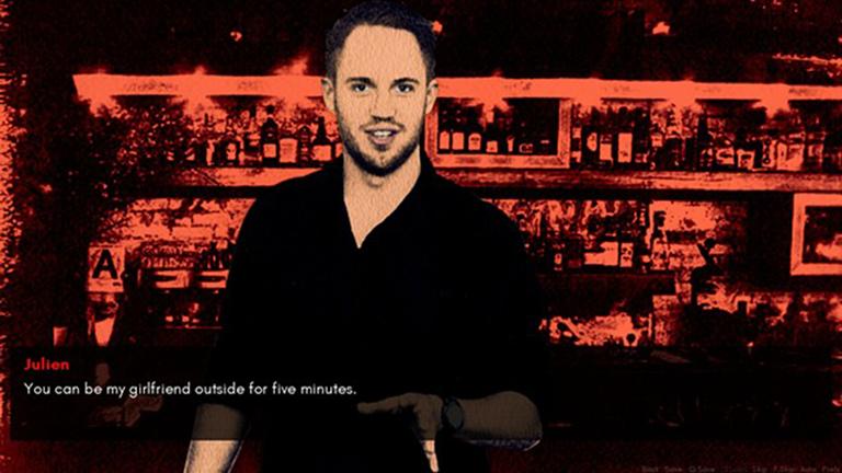"""Ein Pick-Up-Artist bei der Anmache (Screenshot aus dem Spiel """"The Game: The Game"""" von Angela Washko)"""