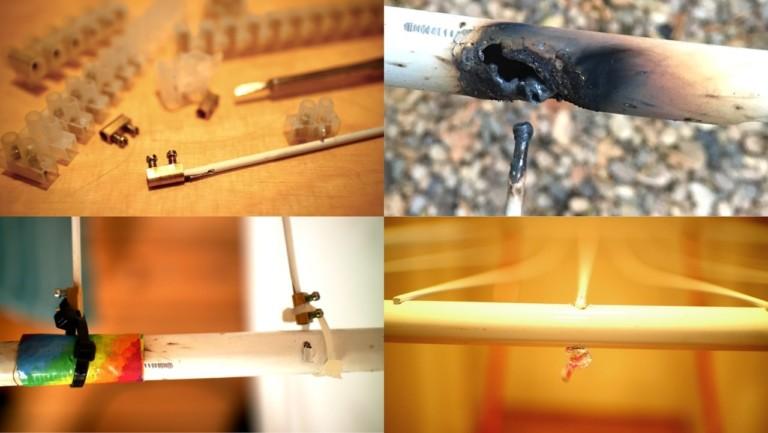 Bildcollage: Reparieren eines Wäscheständers