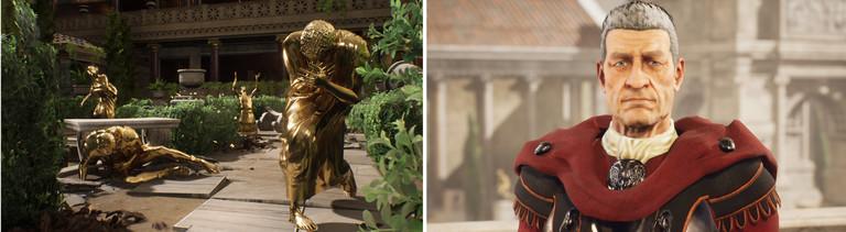 Goldener Tod und antiker Dialogpartner: Szenen aus dem Adventure The Forgotten City