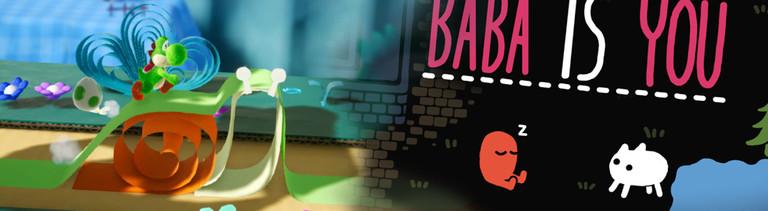 """Eine Szene aus den Spielen """"Yoshi's Crafted World"""" und """"Baba is You""""."""