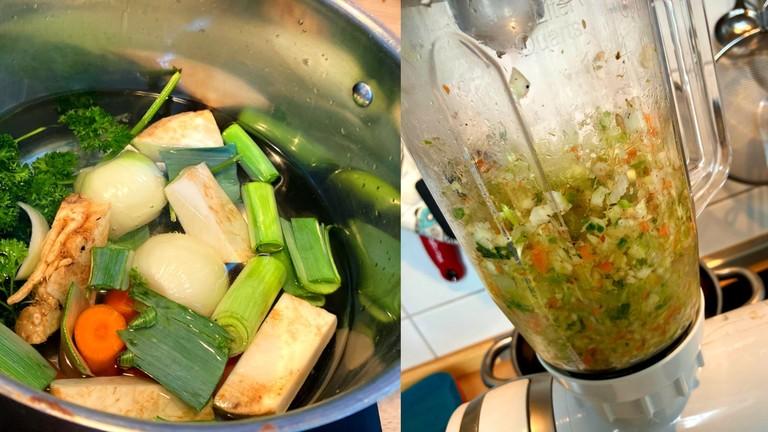 Gemüse zu Brühe mixen