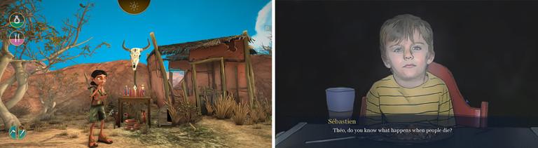 """Screenshots der Spiele """"Arida Backland's Awakening"""" und """"Lie in my Heart"""""""