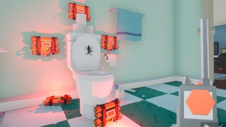 """Ein Screenshot aus dem Computerspiel """"Kill it with Fire"""". Eine Spinne sitzt auf einem Klodeckel, um das Klo herum sind Dynamitpäckchen befestigt."""