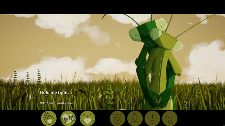 """Zwei Gottesanbeterinnen umarmen sich (Screenshot des Games """"Don't Make Love"""")"""