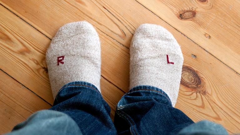 Socken falschherum