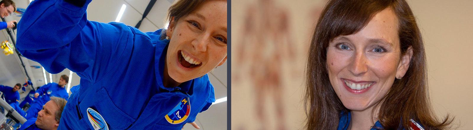 Frau im Raumfahrer-Outfit