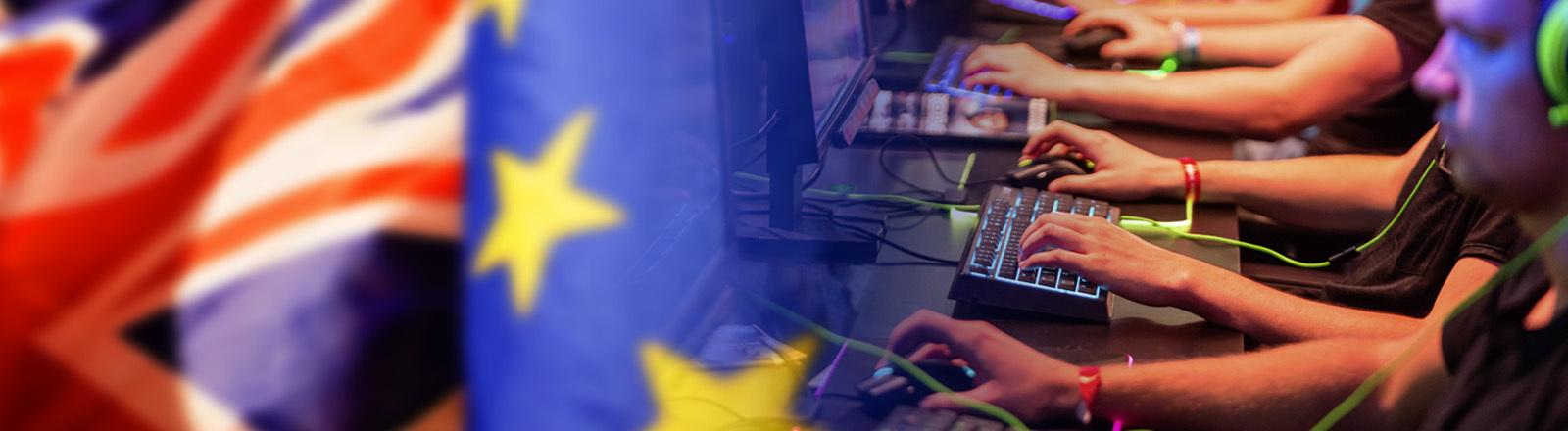 Collage aus Flaggen EU, GB und Gamern