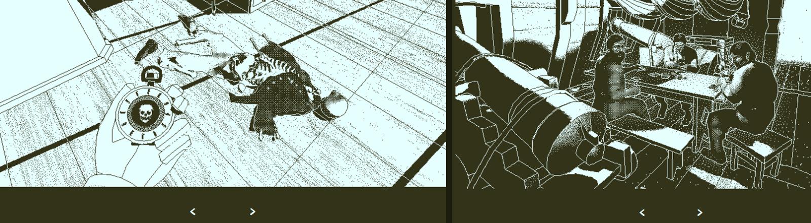 Grafik: Ein Skelett liegt auf dem Boden