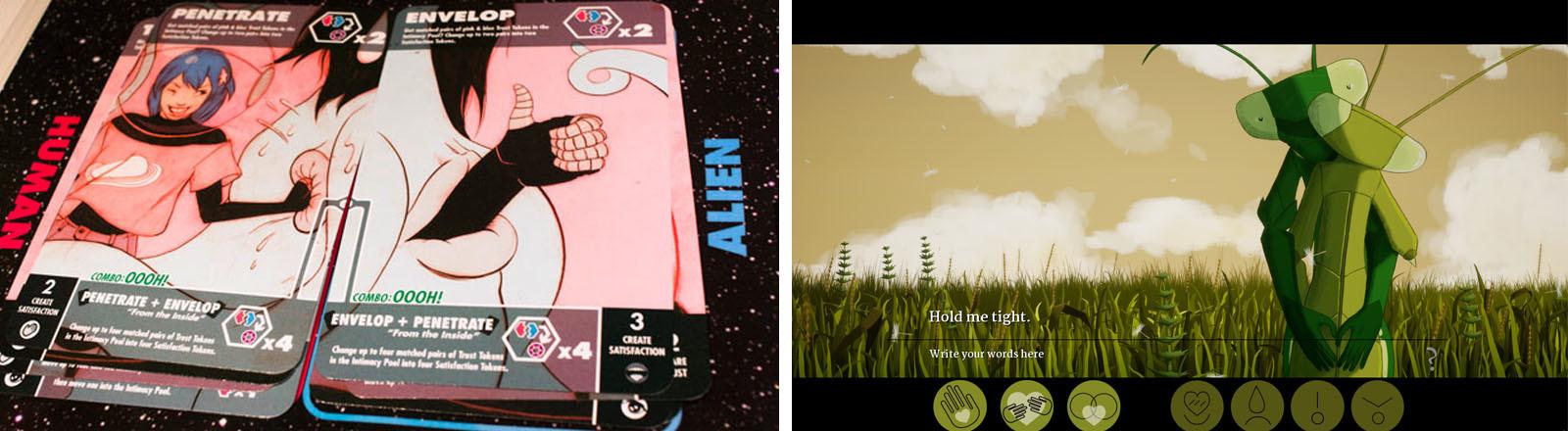 """Zwei Spielkarten des Kartenspiels """"Consentacle"""" / Zwei Gottesanbeterinnen umarmen sich (Screenshot des Games """"Don't Make Love"""")"""