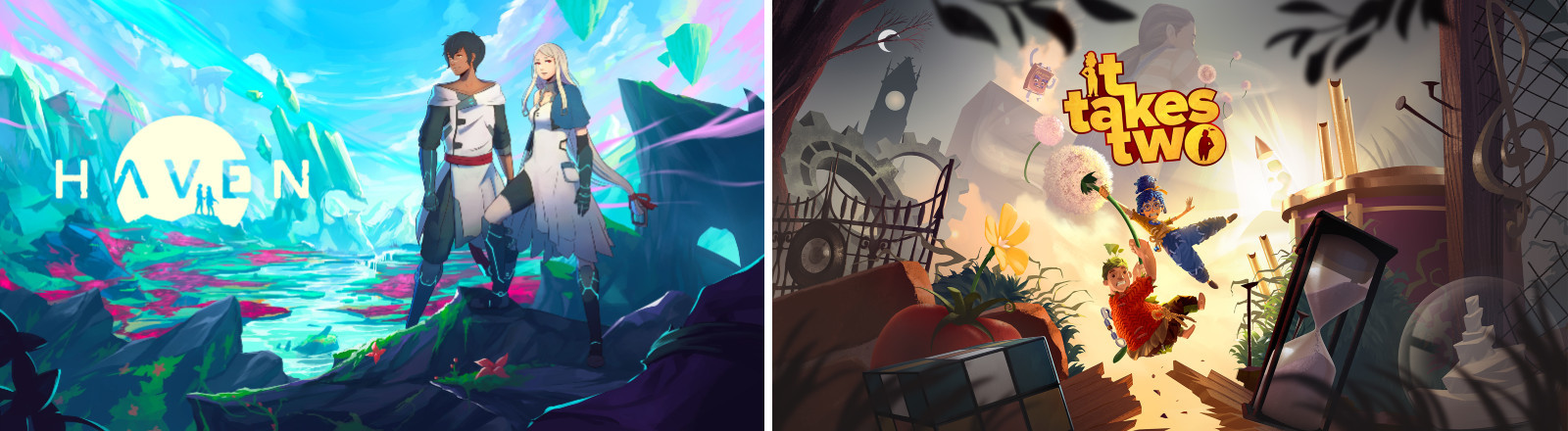 """Grafik der Games """"Haven"""" von The Game Bakers und """"It takes Two"""" von Hazelight und EA"""