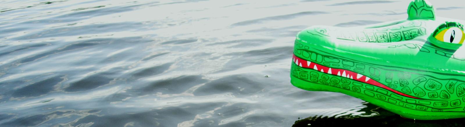 Plastikkrokodil im Wasser.