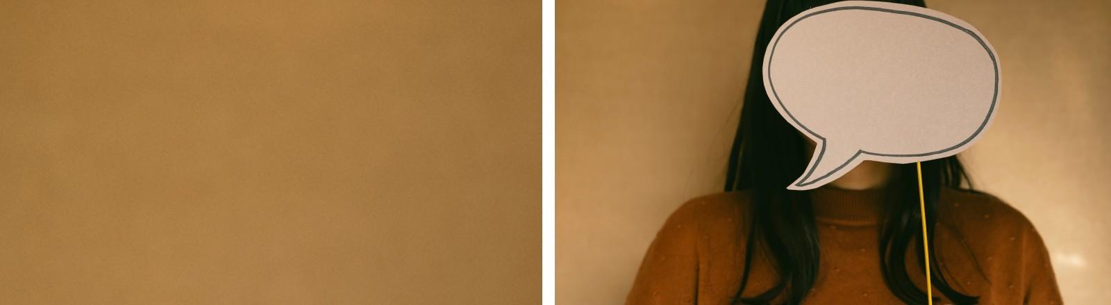 Eine Frau verdeckt ihr Gesicht mit einer Sprechblase.