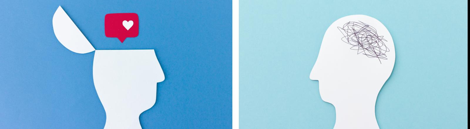 Zwei stilisierte Köpfe schauen sich an. Aus dem einen (rechts) kommt ein Instagram-Herz, im anderen ist ein Wollknäul an der Stelle des Hirns.