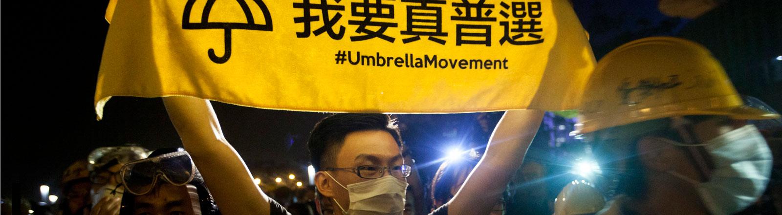 Studierende protestieren in Hongkong für ein demokratisches Wahlsystem.